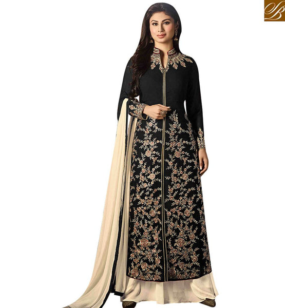 STYLISH BAZAAR WONDERFUL BLACK GEORGETTE DESIGNER SALWAR KAMEEZ WITH CREAM PLAZZO HYNECK STYLE MNSA12021