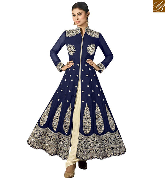 STYLISH BAZAAR APPRECIATING BLUE GEORGETTE HEAVY EMBROIDERED ANARKALI SALWAR KAMEEZ WITH SLIT CUT MNSA12025