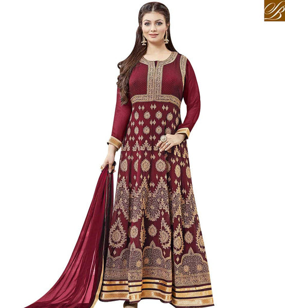 STYLISH BAZAAR INVITING MAROON GEORGETTE HEAVY EMBEDDED ANARKALI SALWAR KAMEEZ WITH GOLD LACE BORDER MNSA12007