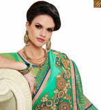 FROM STYLISH BAZAAR BEAUTIFUL GREEN GEORGETTE EMBROIDERED SAREE WITH LACE BORDER WORK MNJ43150