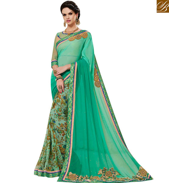 STYLISH BAZAAR BEAUTIFUL GREEN GEORGETTE EMBROIDERED SAREE WITH LACE BORDER WORK MNJ43150