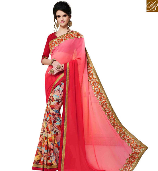 STYLISH BAZAAR PLEASING PINK GEORGETTE DESIGNER PRINTED SAREE WITH EMBROIDERED LACE BORDER WORK MNJ43152
