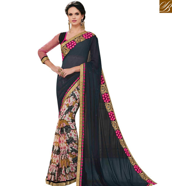 STYLISH BAZAAR GREY AND BLACK DESIGNER PRINTED SAREE WITH EMBROIDERED PALLU AND LACE BORDER WORK MNJ43153