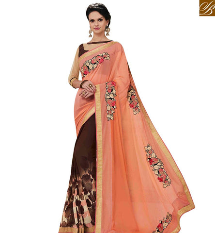 STYLISH BAZAAR AMAZING BROWN GEORGETTE DESIGNER SAREE WITH PEACH EMBROIDERED PALLU MNJ43155