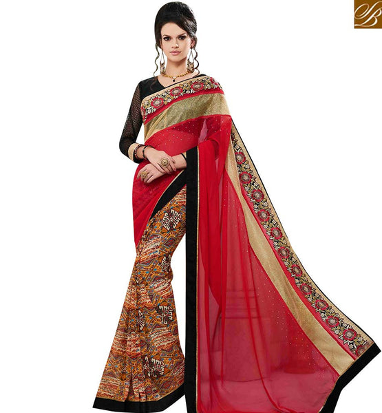 STYLISH BAZAAR EYE CATCHING RED GEORGETTE DESIGNER PRINTED SAREE HAVING STONE AND LACE BORDER WORK MNJ43156