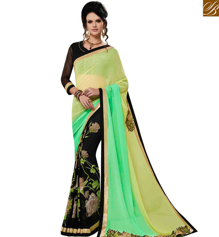 STYLISH BAZAAR INVITING BLACK GEORGETTE SAREE HAVING FLORAL PRINT WITH PISTA GREEN SHADED PALLU MNJ43157