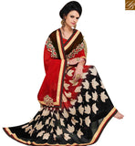 A STYLISH BAZAAR PRESENTATION APPRECIATING RED GEORGETTE DESIGNER SAREE WITH LEAF PRINT HAVING LACE BORDER WORK MNJ43160