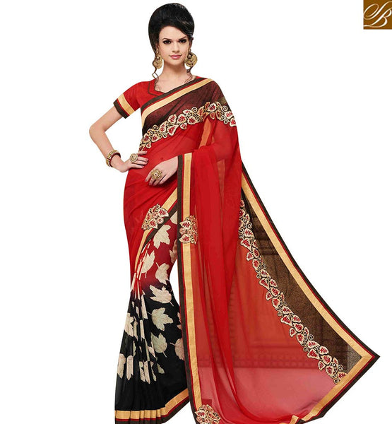 STYLISH BAZAAR APPRECIATING RED GEORGETTE DESIGNER SAREE WITH LEAF PRINT HAVING LACE BORDER WORK MNJ43160