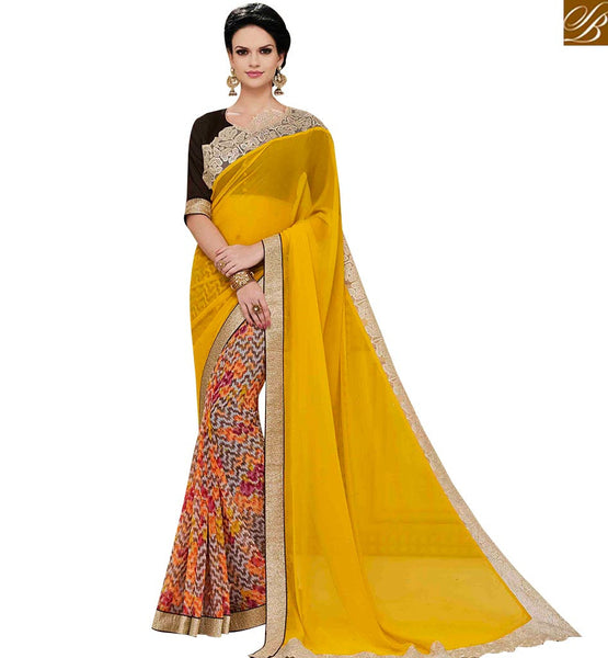 STYLISH BAZAAR MAGNIFICENT YELLOW GEORGETTE DESIGNER SAREE WITH LACE BORDER HAVING GLAMOROUS LOOK MNJ43161