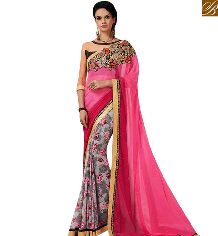 STYLISH BAZAAR CAPTIVATING PINK GEORGETTE HALF N HALF DESIGNER SAREE HAVING PATCH WORK WITH BROWN SILK BLOUSE MNJ43162