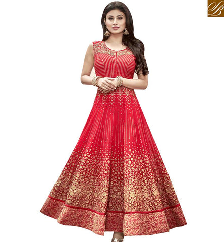 STYLISH BAZAAR APPRECIATING RED GEORGETTE ANARKALI SALWAR KAMEEZ WITH EMBROIDERED LACE BORDER WORK MNSA12015