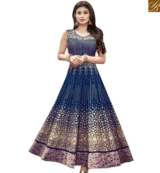 STYLISH BAZAAR MAJESTIC BLUE GEORGETTE ANARKALI SALWAR KAMEEZ WITH EMBROIDERED LACE BORDER WORK MNSA12015