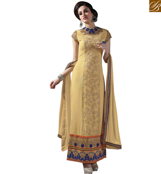 STYLISH BAZAAR STUNNING CREAM GEORGETTE STRAIGHT CUT SALWAR KAMEEZ WITH CLOSE EMBROIDERED NECK MNJ43172