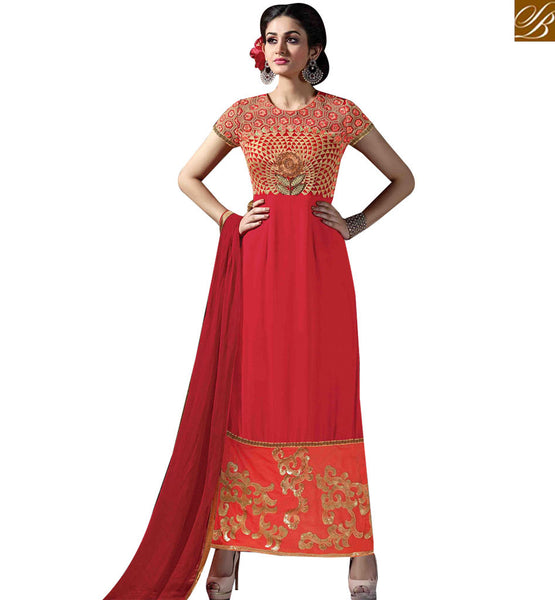 STYLISH BAZAAR DAZZLING RED GEORGETTE STRAIGHT CUT SALWAR KAMEEZ WITH RESHAM EMBROIDERY ON CHEST MNJ43173