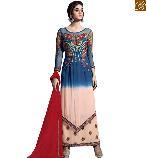 STYLISH BAZAAR AMAZING BLUE AND CREAM GEORGETTE WELL EMBROIDERED STRAIGHT CUT SALWAR KAMEEZ MNJ43174