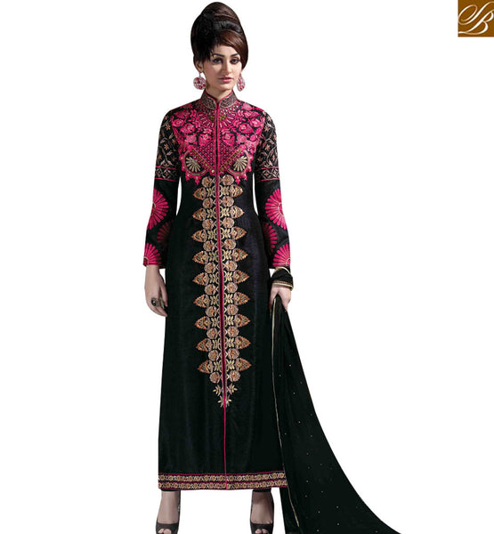 STYLISH BAZAAR INVITING BLACK SILK DESIGNER STRAIGHT CUT SALWAR KAMEEZ WITH PINK EMBROIDERY ON CHEST MNJ43175