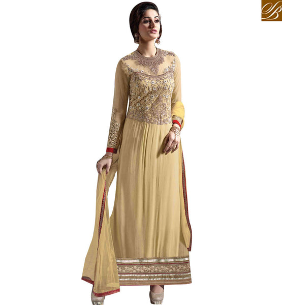 STYLISH BAZAAR CREAM GEORGETTE STRAIGHT CUT SALWAR KAMEEZ WITH HEAVY EMBEDDED LACE BORDER WORK MNJ43176
