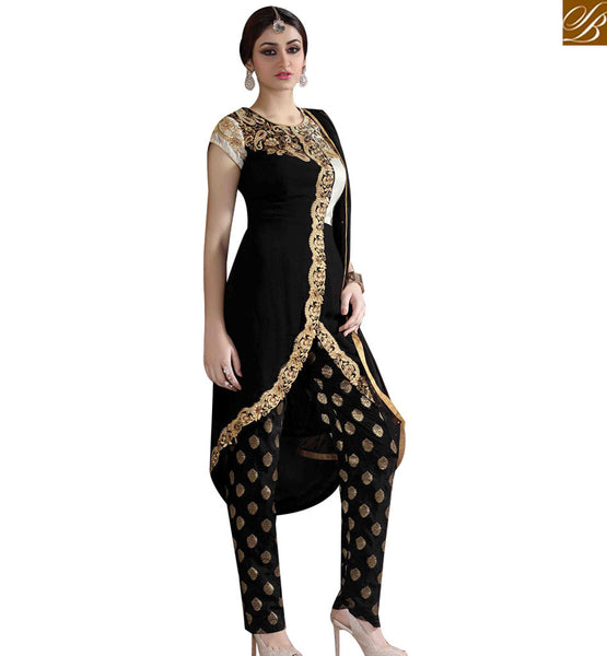 STYLISH BAZAAR APPRECIATING BLACK GEORGETTE DESIGNER SUIT ATTIRE BUTTI TROUSER WITH JACKET STYLE MNJ43177