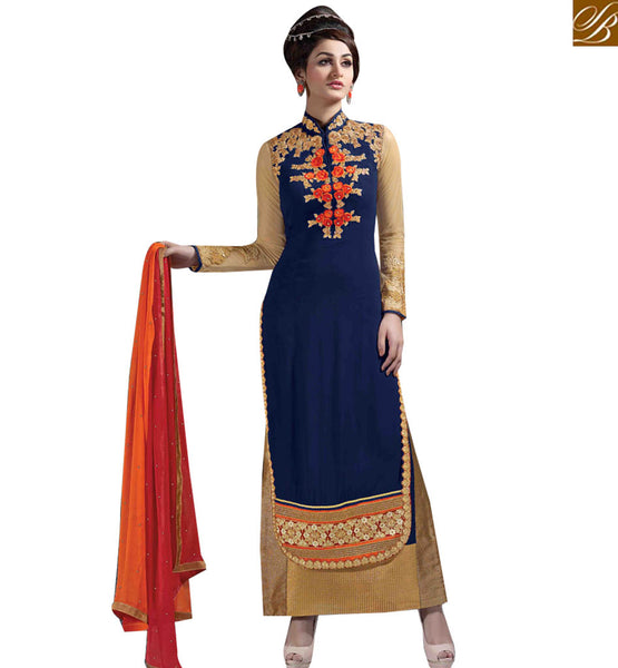 STYLISH BAZAAR APPRECIATING BLUE GEORGETTE STRAIGHT CUT SALWAR KAMEEZ WITH EMBROIDERED HYNECK STYLE MNJ43178
