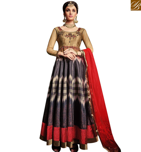 STYLISH BAZAAR MAGNIFICENT BEIGE AND GREY COLOR ANARKALI SUIT WITH COMBINATION OF ZARI AND DIAMOND WORK ARMNJ13001