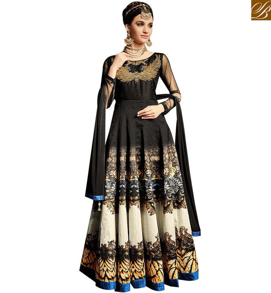 STYLISH BAZAAR BEAUTIFUL BLACK ANARKALI SALWAR KAMEEZ DIGITAL PRINTED WITH COPPER ZARI AND KHATLI WORK ARMNJ13002