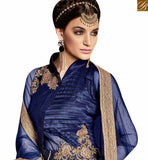 BROUGHT TO YOU BY STYLISH BAZAAR BLUE DESIGNER FLOOR LENGTH ANARKALI SUIT WITH HANDWORK PATCH AND DIGITAL PRINTED IN SATIN SILK ARMNJ13003
