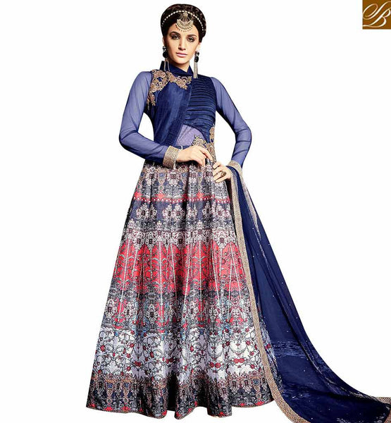 STYLISH BAZAAR BLUE DESIGNER FLOOR LENGTH ANARKALI SUIT WITH HANDWORK PATCH AND DIGITAL PRINTED IN SATIN SILK ARMNJ13003
