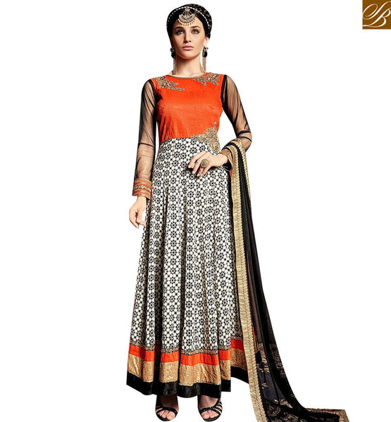 STYLISH BAZAAR MARVELOUS OFF WHITE AND ORANGE ANARKALI SUIT WITH COMBINATION OF BADLA HANDWORK HAVING SEQUENCE BORDER ARMNJ13004