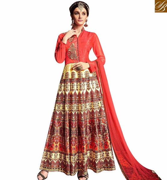 STYLISH BAZAAR IDEAL RED COLOR ANARKALI SALWAR KAMEEZ WITH ZARI WORK AND DIGITAL PRINTED ANARKALI SUIT ARMNJ13006