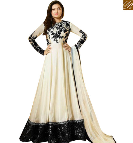 STYLISH BAZAAR MADHUBALA DRASHTI DHAMI LATEST WHITE GEORGETTE  ANARKALI SUIT LTNT91001