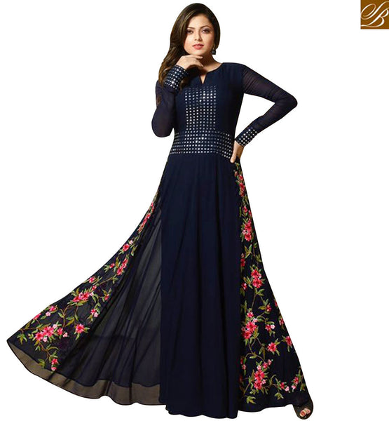 STYLISH BAZAAR MADHUBALA DRASHTI DHAMI BEAUTIFUL NAVY BLUE GEORGETTE ANARKALI SUIT LTNT91002