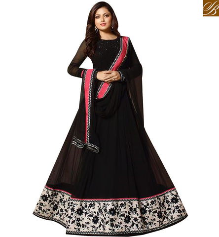 STYLISH BAZAAR ACTRESS MADHUBALA DRASHTI DHAMI EYECATCHING BLACK DESIGNER ANARKALI  SUIT LTNT91005