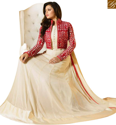 STYLISH BAZAAR TV ACTRESS DRASHTI DHAMI GORGEOUS CREAM GEORGETTE SILK NEW ANARKALI SUIT LTNT91006