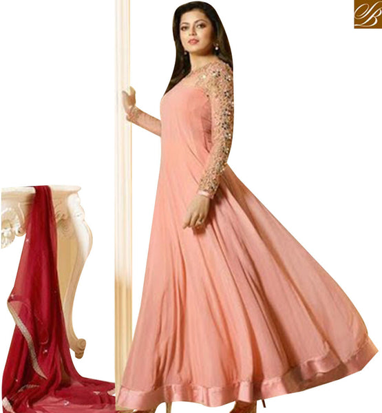 STYLISH BAZAAR MADHUBALA DRASHTI DHAMI MAGNIFICIENT PEACH GEORGETTE NET ANARKALI SUIT LTNT91007