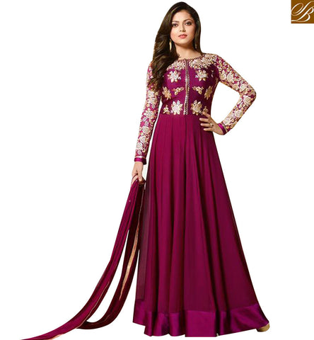 STYLISH BAZAAR DRASHTI DHAMI LATEST MAGENTA GEORGETTE FLOOR LENGTH ANARKALI SUIT LTNT91008