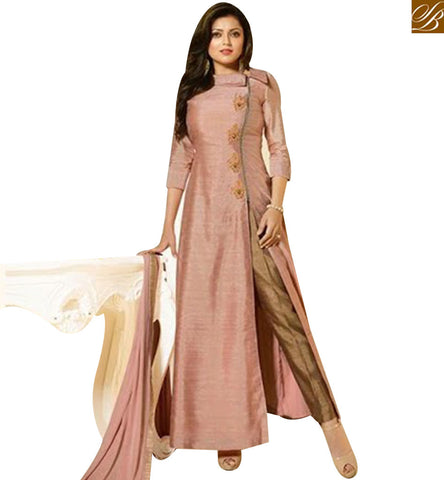 STYLISH BAZAAR MADHUBALA DRASHTI DHAMI ORIGINAL SLIT CUT PEACH ART SILK ANARKALI SUIT LTNT91009