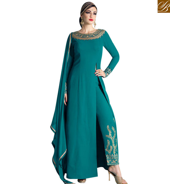 STYLISH BAZAAR BEAUTIFUL GREEN GEORGETTE DESIGNER ANARKALI SALWAR KAMEEZ WITH SLIT CUT NKNRA1016A