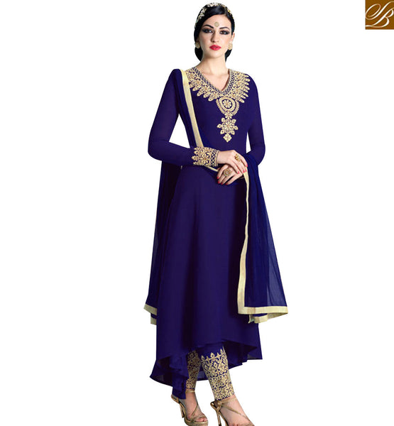 STYLISH BAZAAR WONDERFUL NAVY BLUE GEORGETTE EMBROIDERED ANARKALI SALWAR KAMEEZ WITH TROUSER NKNRA1017A