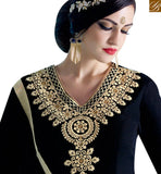 STYLISH BAZAAR INTRODUCES WONDERFUL BLACK GEORGETTE EMBROIDERED ANARKALI SALWAR KAMEEZ WITH TROUSER NKNRA1017B