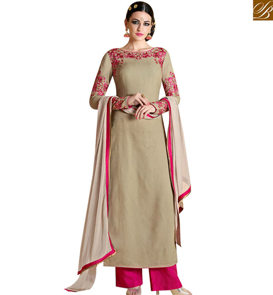 STYLISH BAZAAR INVITING BEIGE GEORGETTE DESIGNER STRAIGHT CUT SUIT HAVING FLOWERY EMBROIDERY ON NECK & SLEEVES NKNRA1018A