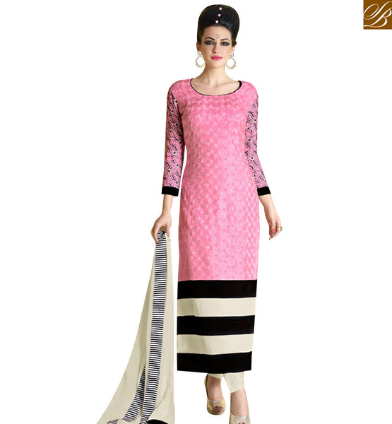 STYLISH BAZAAR CAPTIVATING PINK GEORGETTE STRAIGHT CUT SUIT ATTIRE WITH BLACK AND CREAM PATTI NKNRA1019A