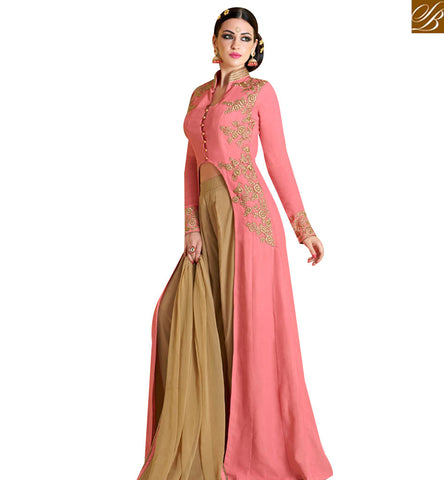 STYLISH BAZAAR AMAZING PEACH GEORGETTE EMBROIDERED ANARKALI SALWAR KAMEEZ WITH BEIGE BOTTOM AND DUPATTA NKNRA1020A