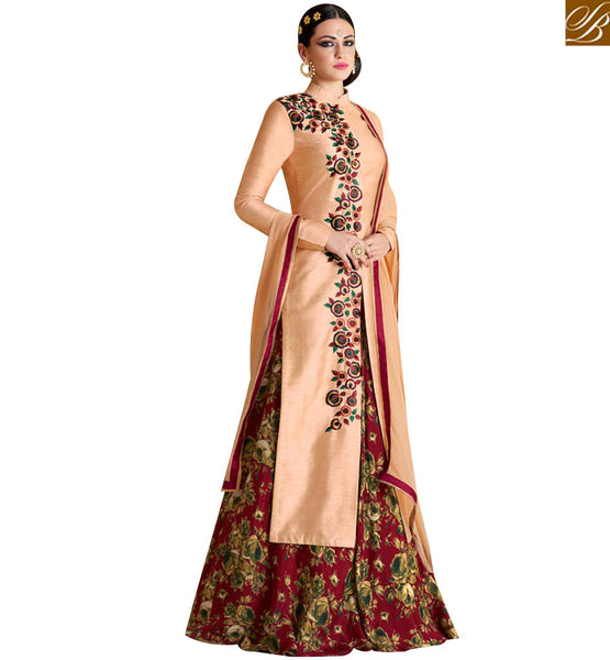 STYLISH BAZAAR PRESENTS STUNNING PEACH BHAGALPURI DESIGNER SUIT WITH BEAUTIFUL COMBINATION OF MAROON BOTTOM NKNRA1021A-1