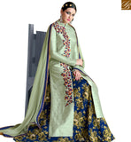 STYLISH BAZAAR STUNNING LIGHT GREEN BHAGALPURI DESIGNER SUIT WITH BEAUTIFUL COMBINATION OF MAROON BOTTOM NKNRA1021B-1