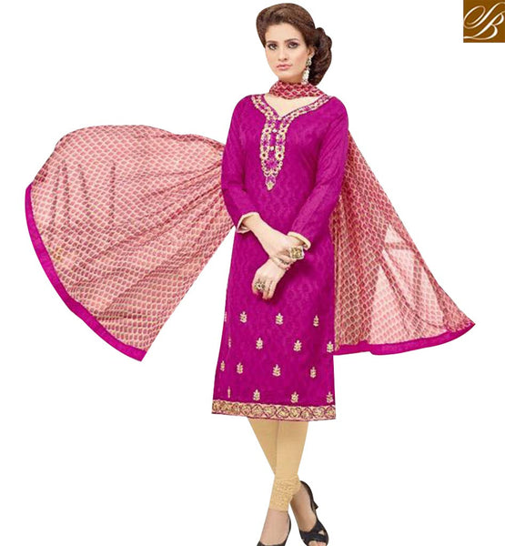 STYLISH BAZAAR BEAUTIFUL MAGENTA COTTON JACQUARD DESIGNER STRAIGHT CUT CASUAL SALWAR KAMEEZ MNJ43519