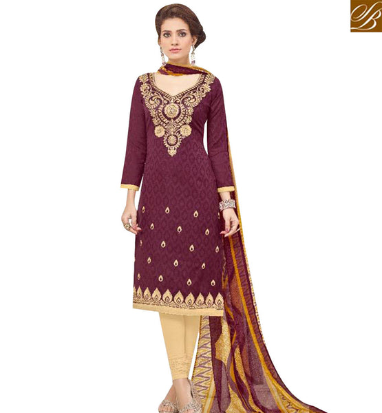 STYLISH BAZAAR WONDERFUL BROWN COTTON JACQUARD DESIGNER SALWAR KAMEEZ WITH LOVELY EMBROIDERED NECK MNJ43520