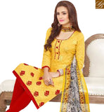 BROUGHT TO YOU BY STYLISH BAZAAR ELEGANT YELLOW COTTON DESIGNER STRAIGHT CUT SALWAR KAMEEZ WITH MULTI PRINTED DUPATTA MNJ43521