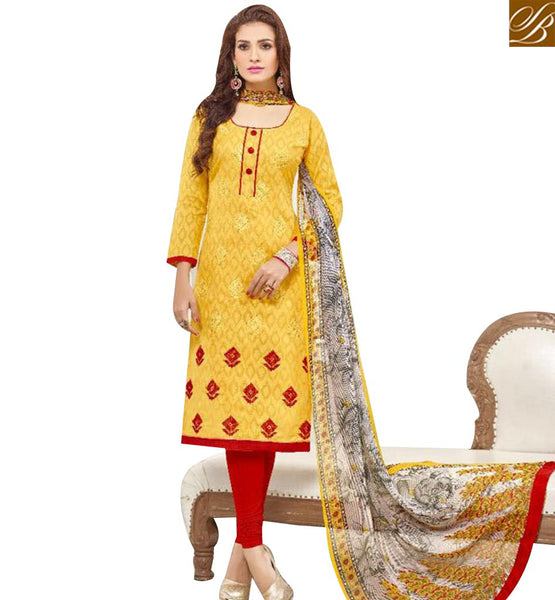 STYLISH BAZAAR ELEGANT YELLOW COTTON DESIGNER STRAIGHT CUT SALWAR KAMEEZ WITH MULTI PRINTED DUPATTA MNJ43521