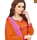 A STYLISH BAZAAR PRESENTATION PLEASING ORANGE COTTON DESIGNER STRAIGHT CUT SALWAR KAMEEZ WITH PINK BOTTOM MNJ43522