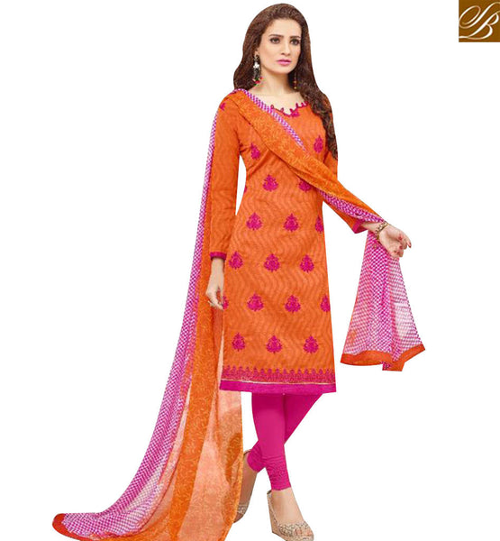STYLISH BAZAAR PLEASING ORANGE COTTON DESIGNER STRAIGHT CUT SALWAR KAMEEZ WITH PINK BOTTOM MNJ43522